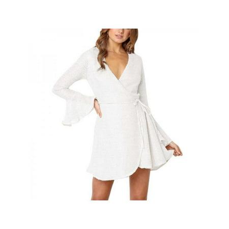 1ba5e4427fe Ropalia Women Sexy V-neck Long Sleeve Elastic Waist Belt Dress Slim Solid  Casual Skirt - Walmart.com