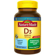 Nature Made Vitamin D3, 260 Softgels, Vitamin D 2000 IU (50 mcg) Helps Support Immune Health, Strong Bones and Teeth, & Muscle Function, 250% of the Daily Value for Vitamin D in Only One Daily Softgel