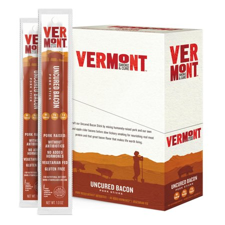 Vermont Smoke & Cure Meat Sticks, Pork, Antibiotic Free, Gluten Free, Uncured Bacon, 1oz Stick, 24 -