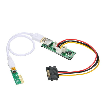 Mini PCI-E X1 Extension Cable PCIE 1X Expansion Riser Card 90°Right Angle with USB Cable and SATA Cable - image 7 of 7