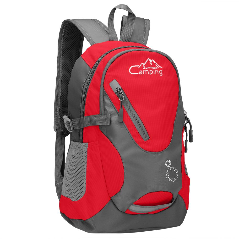 "Camping Survivals 16"" Kids Children Small Backpack, 20L Waterproof Travel Camping Rucksack School Book Bag for Girls Boys Outdoor Sports,red"