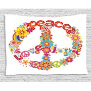 70s Party Decorations Tapestry, Peace Sign Colorful Flowers Rainbows Love  and Joy Festive Composition,