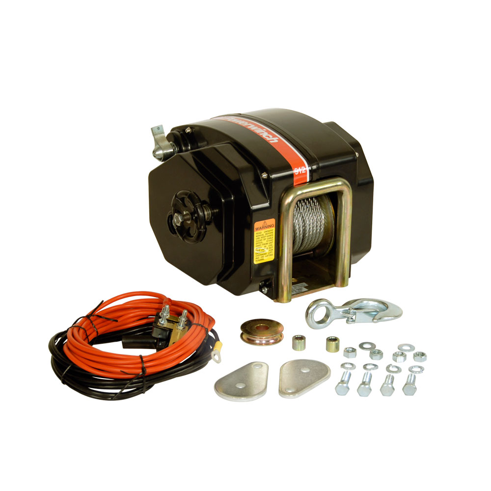 "Powerwinch 12V Model 912 Marine Trailer Winch with 7 32"" x 40' Cable, Max Load 11,500 lbs, Vertical Lift 4000 lbs by Powerwinch"