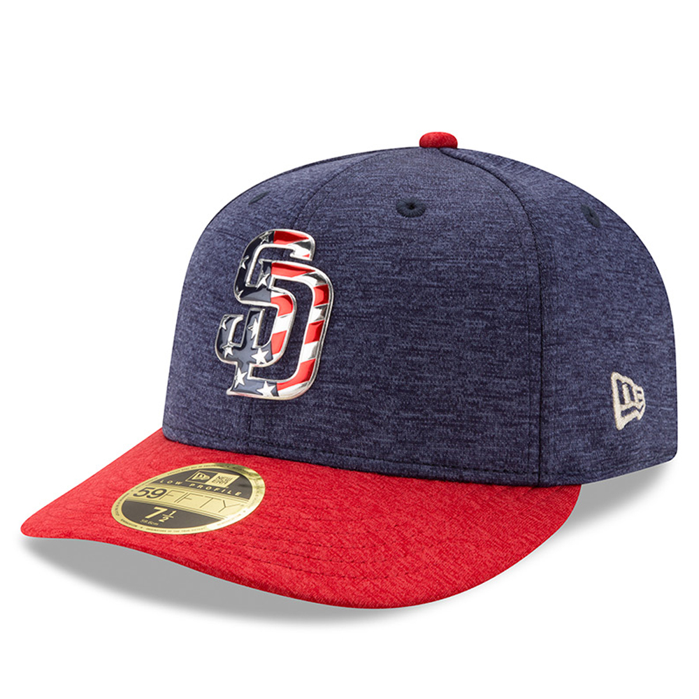San Diego Padres New Era 2017 Stars & Stripes Low Profile 59FIFTY Fitted Hat - Heathered Navy/Heathered Red