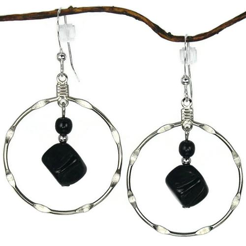 Jewelry by Dawn Large Black And Silver Notched Hoop Earrings