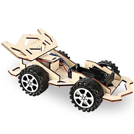 Wood Racing Car DIY Kit Kids Toy DIY Kit Electric Wooden Racing Car for Children Science and Technology Inventions Assembled Experiment DIY Model Building Kits (Super Car Model Kits)