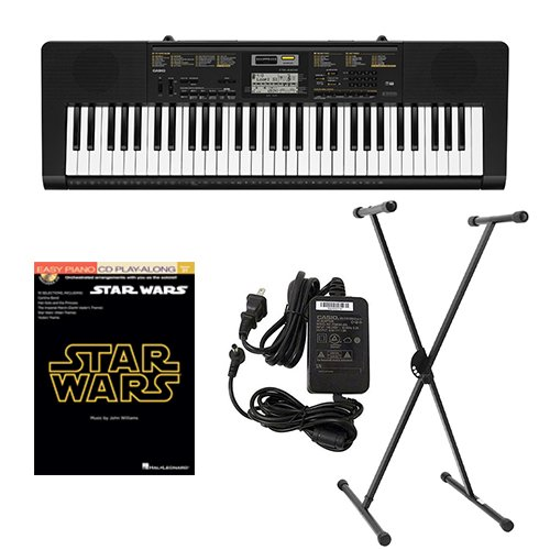 Casio CTK2400 61-Key Keyboard Deluxe Package with Casio Keyboard Adapter, Keyboard Stand & Star Wars Easy... by Casio
