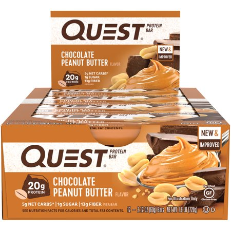 Quest Protein Bar, Chocolate Peanut Butter, 20g Protein, 12 Ct ()