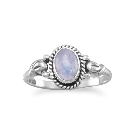 Oxidied Sterling Silver Ring 5mm X 7mm Moonstone Stone Has a Rope Edge 1.5mm Wide - Ring Size: 6 to 8
