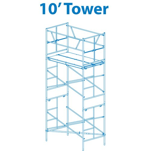Granite Industries 1.17' H x 72'' W x 42'' D Steel Scaffold Tower with 375 lb. Load Capacity Type 2A Duty Rating