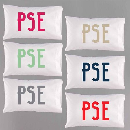 Personalized Modern Monogram Pillowcase, Available in 6 Colors ()
