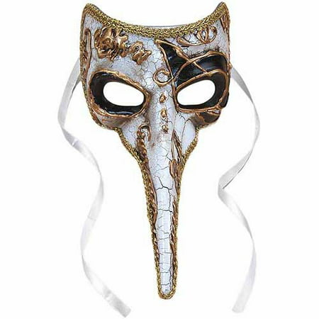 Dog Nose Mask Halloween (Long-Nosed Black and White Venetian Mask Adult Halloween Costume)