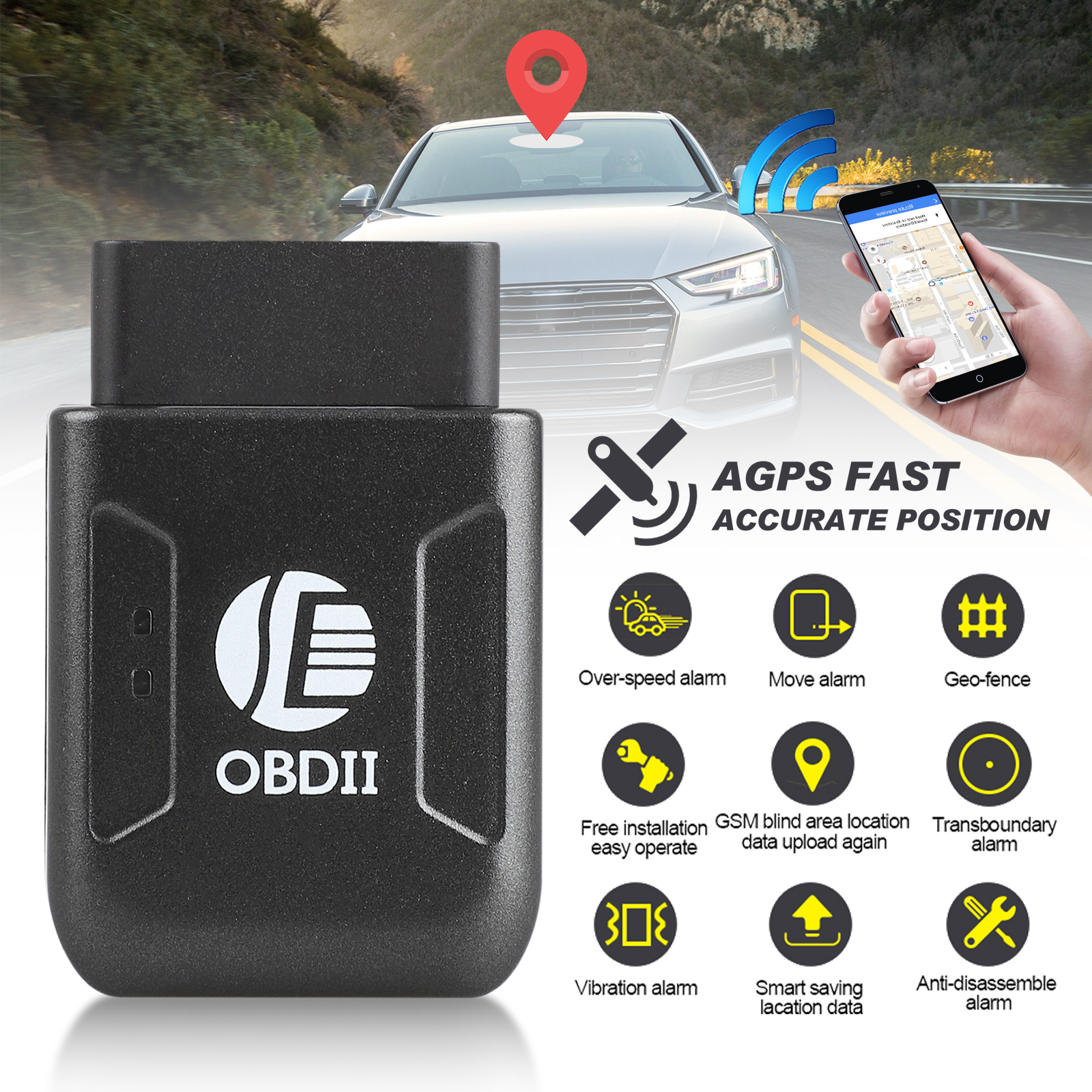 TSV Mini Portable Magnet GPS Tracker, Personal and Vehicle GPS Tracker, Anti-Theft Real-time Tracking Free Application Anti-Lost GPS Locator