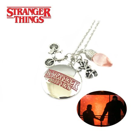 Stranger Things Necklace Pendant - Text & Pink Bulb - TV Series Show Cosplay Jewelry by Superheroes