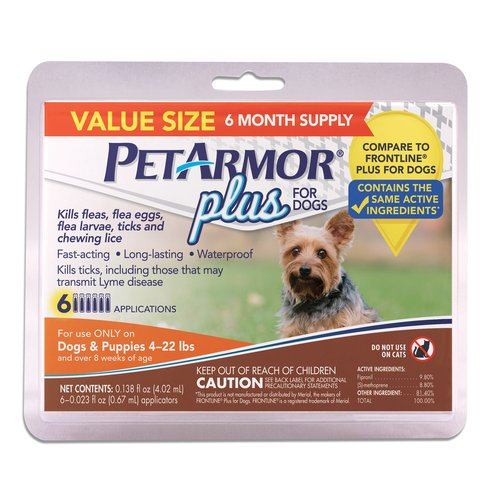 PetArmor Plus for Dogs 4-22 Lbs, 6-Count