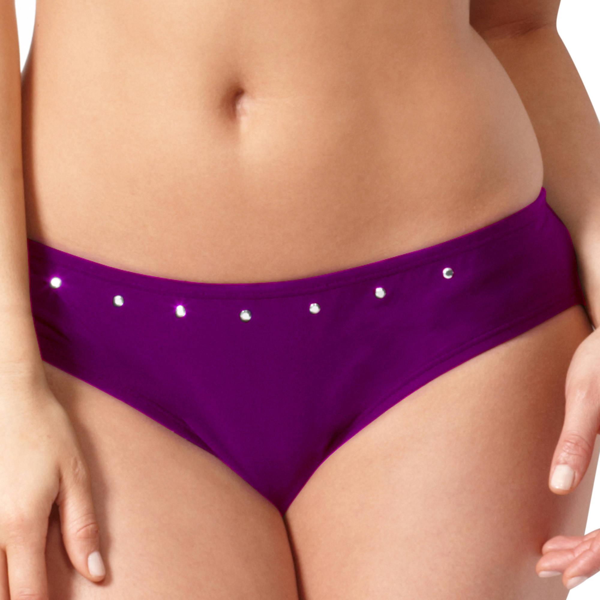 Smart & Sexy- Rouched Back Studded Swim Bottom