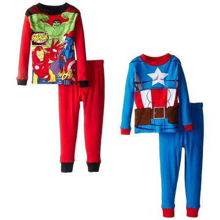 Marvel Avengers Captain America 4 PC Long Sleeve Tight Fit Pajama Set Boy Size 6