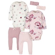 Modern Moments by Gerber Organic Baby Girl Onesies Bodysuits, Pants, and Headbands Set, 6-Piece