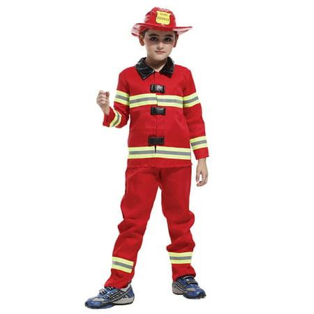 Kids' Fireman Dress-Up Play Costume Set with Uniform & Accessories, L (Fireman Dress)