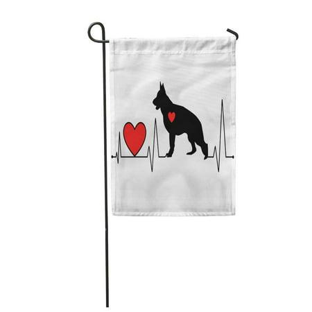 LADDKE Red German Shepherd Silhouette Heartbeat Line for Cutting Vinyl Garden Flag Decorative Flag House Banner 12x18 inch ()