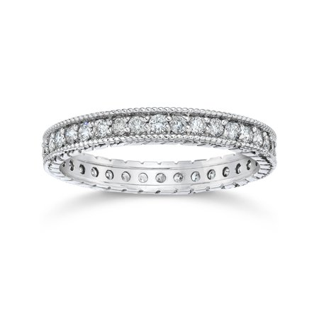 - 5/8ct Vintage Diamond Hand Engraved Eternity Ring 14K White Gold