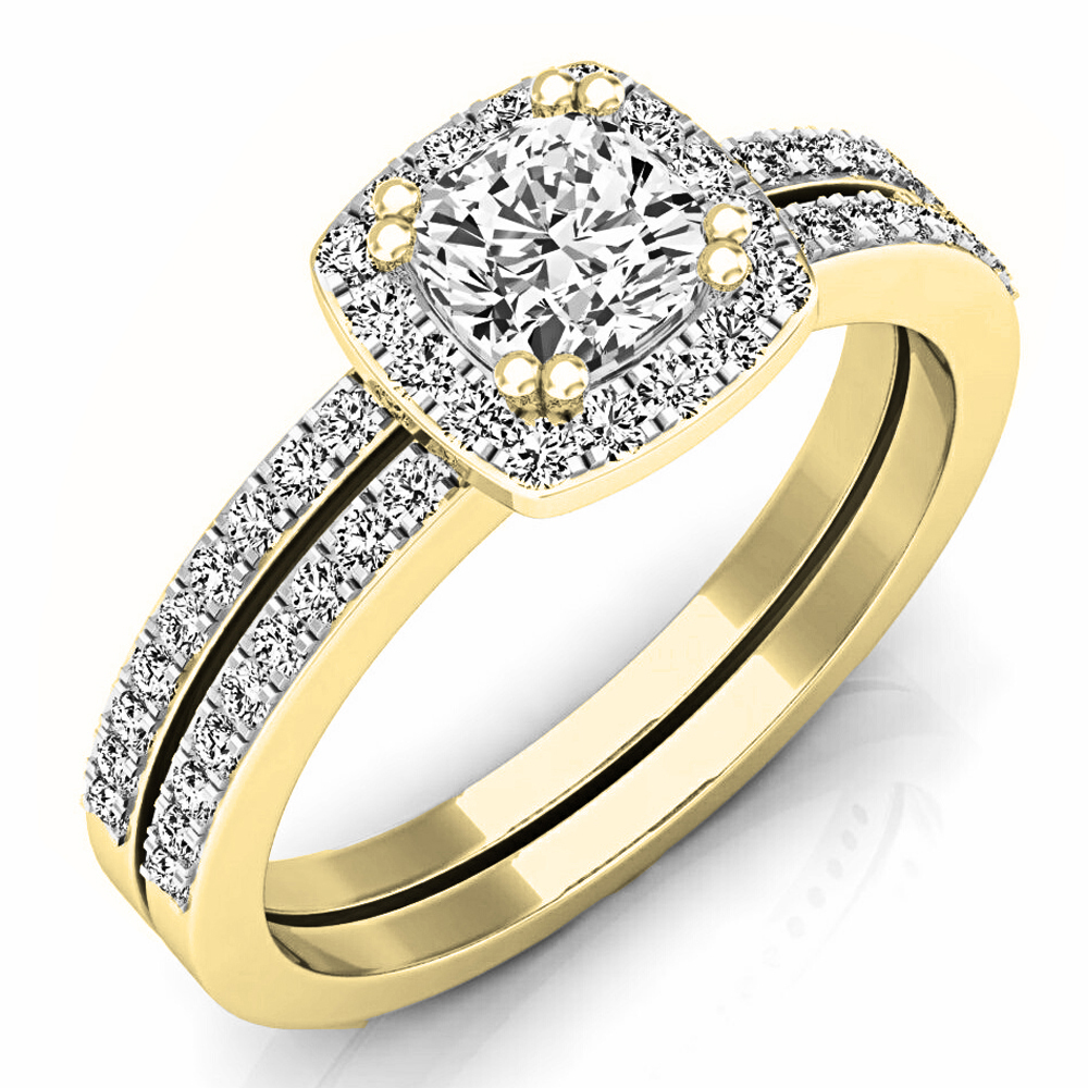 1 05 Carat Ctw 14k Gold Cushion Round Diamond Ladies Halo Style