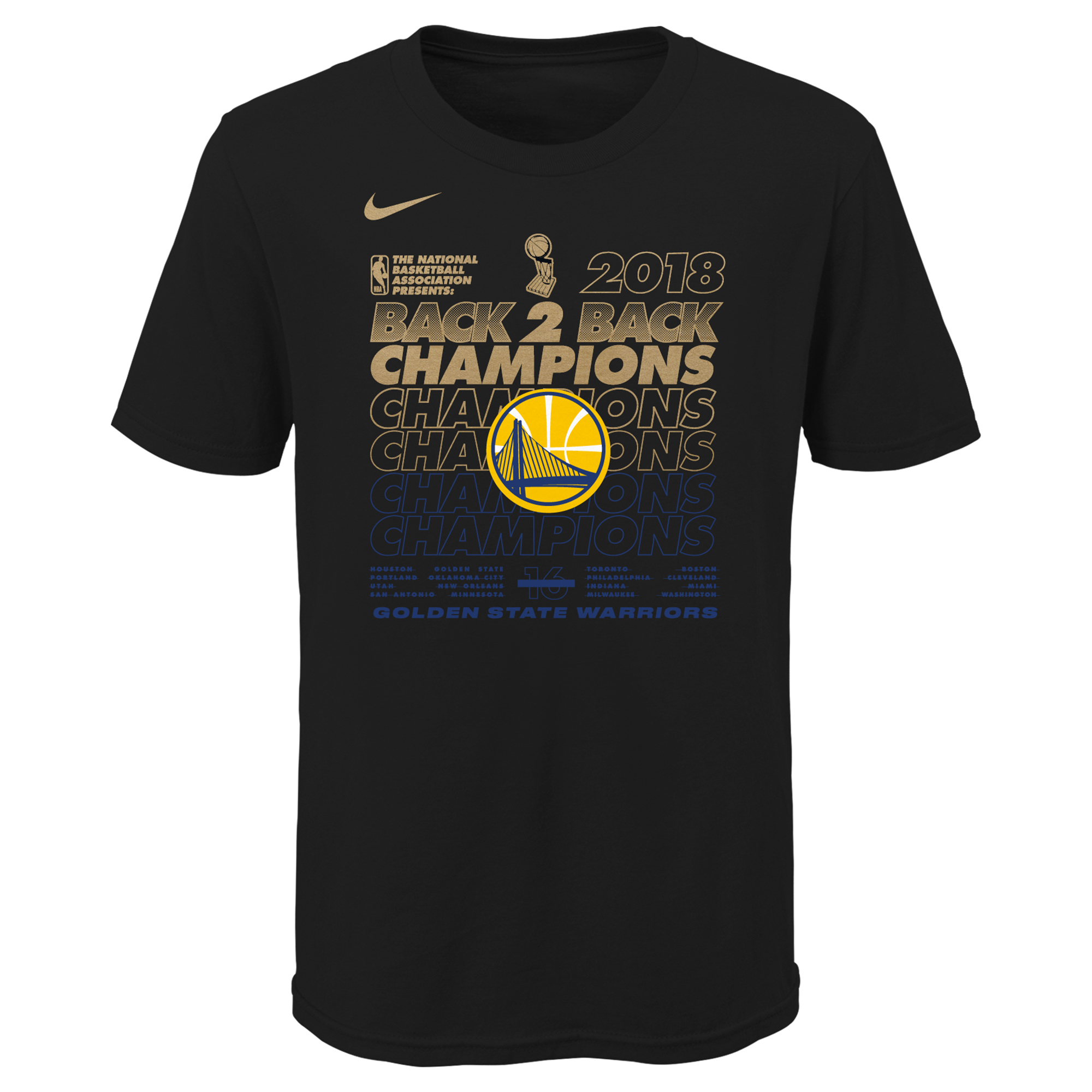 Golden State Warriors Nike Youth 2018 NBA Finals Champions Locker Room T-Shirt - Black