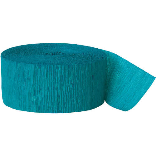 Teal Crepe Paper Streamers, 81ft