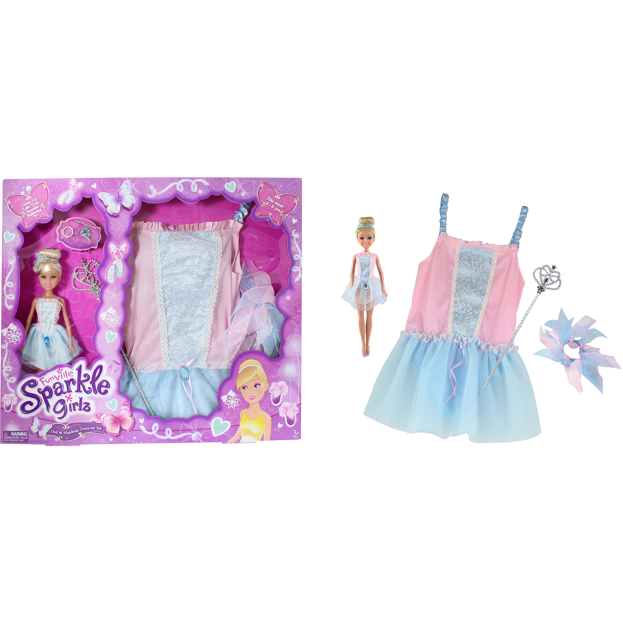 Funville Sparkle Girlz Doll with Dress Up, Caucasian, Ballerina by LIAN PING GREAT PERFORMANCE TOYS PRODUCT FACTORY