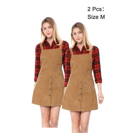 7a733ff67d4 Unique Bargains - Women Corduroy Button Decor A Line Suspender Overall  Dress Skirt - Walmart.com