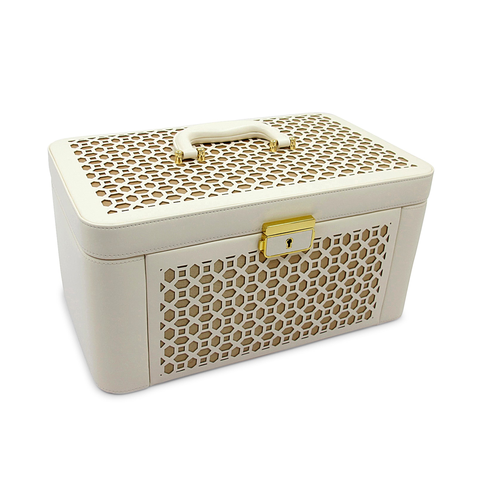 Morelle Co Alexis White Leather Large Pullout Jewelry Box