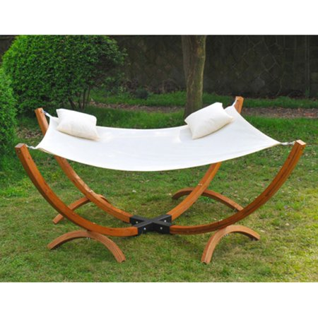 Outsunny 2 Person Extra Wide Hammock With Double Arc Wood Stand