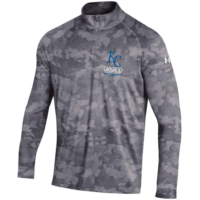 Kansas City Royals Under Armour Tech Novelty Quarter-Zip Performance Pullover - Gray