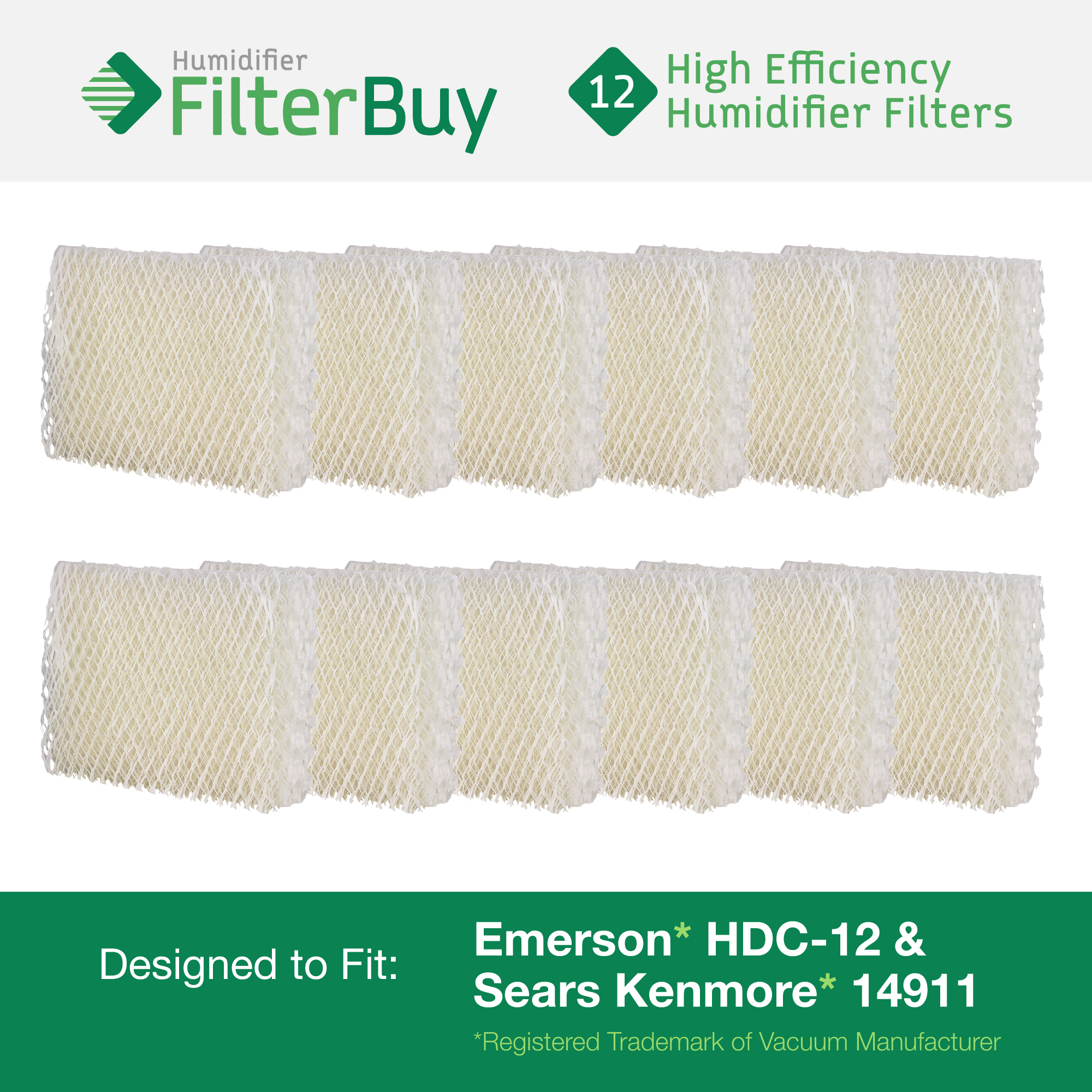 Emerson HDC-12 (HDC12) & Sears Kenmore 14911 Replacement Humidifier Wick Filters. Pack of 12 Filters. Designed by FilterBuy.