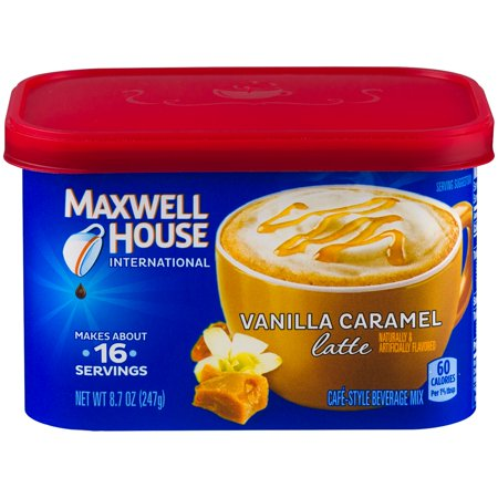 (4 Pack) Maxwell House International Vanilla Caramel Latte, 8.7 oz Canister