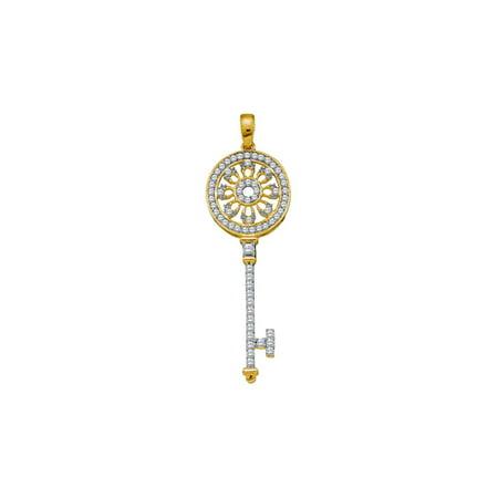 10kt Yellow Gold Womens Round Diamond Circle Handle Antique-style Key Pendant 1/2 Cttw