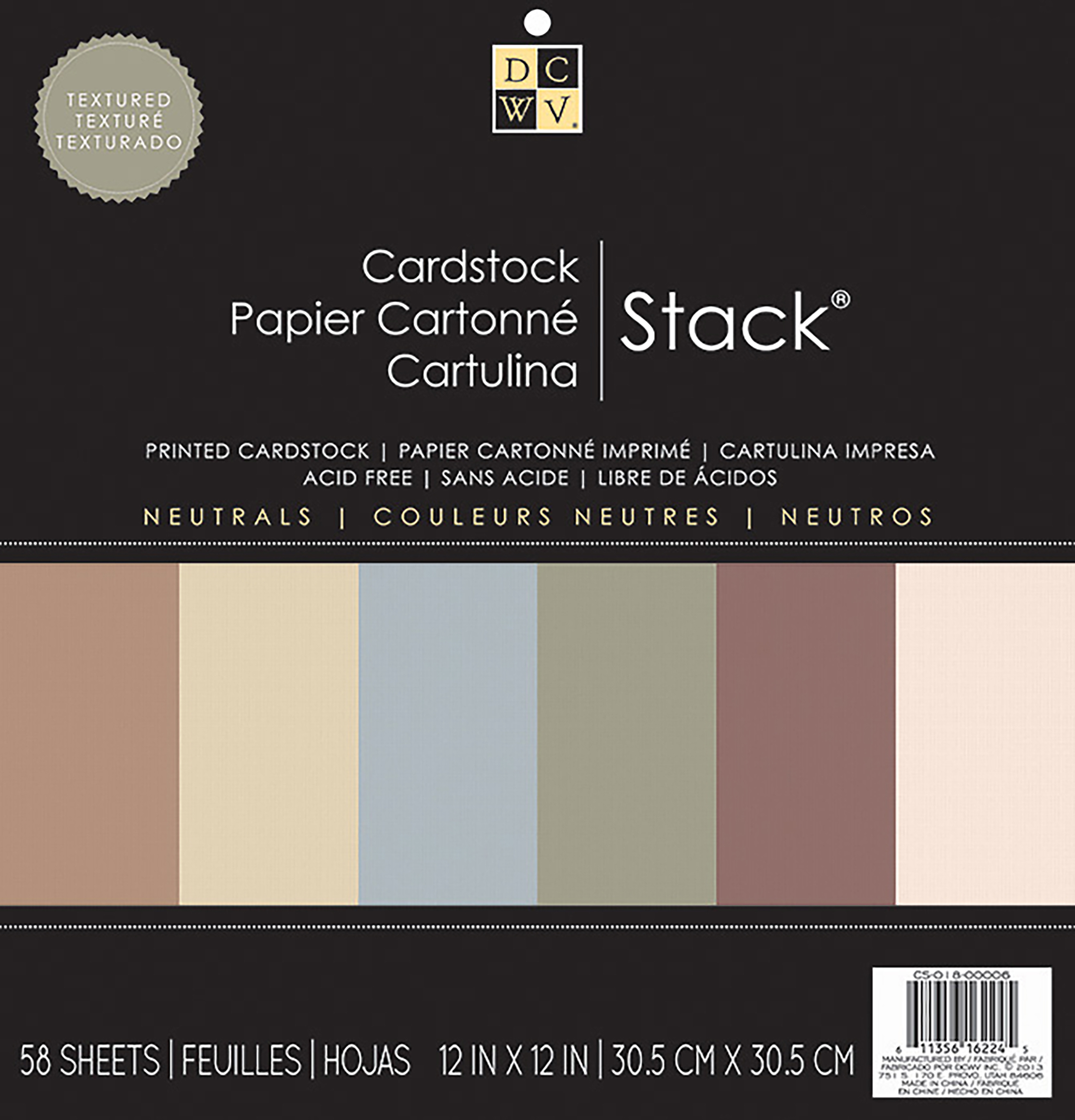 "DCWV Single-Sided Cardstock Stack 12""X12"" 58/Pkg-Neutrals Solid"