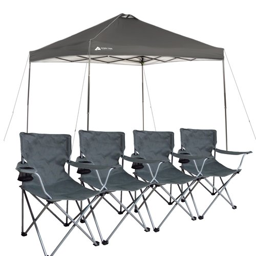 Ozark Trail Instant 10x10 Straight Leg Canopy With 4 Chairs Value Bundle    Walmart.com