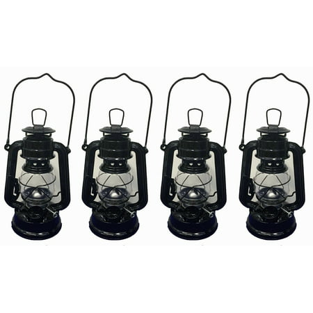 Lot of 4 - 8 Inch Black Hurricane Kerosene Oil Lantern Hanging Light / Lamp