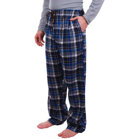Enimay Men's Flannel Cotton Plaid Pajama Pants w/ Drawstring Button Fly Pockets F001 Size Medium