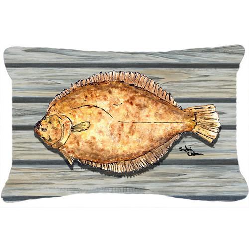 Carolines Treasures Watercolor Flounder Rectangle Outdoor Pillow by Caroline's Treasures