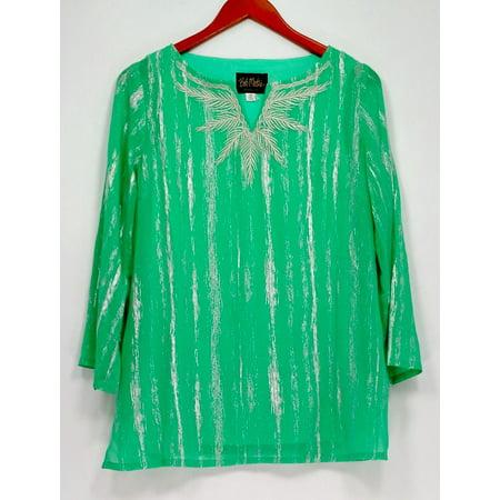 Bob Mackie Women's Top Sz XS Split Neck Embroidered Green A266368 Bob Mackie Embroidered Blouse