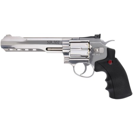 Crosman Silver Edition CO2 Powered 6 Shot Revolver Air Pistol, .177 cal, 450 FPS