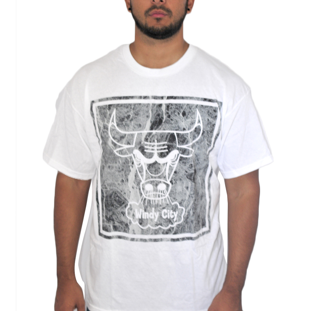 We Love Fine  Chicago Bulls Mosaic White T-shirt NEW Sizes S-XL