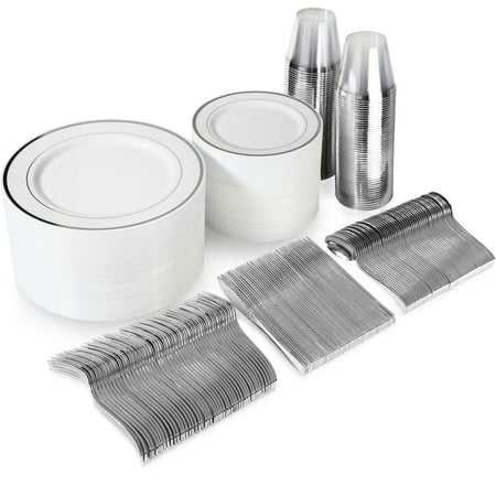 Plates And Cups (600 Piece Silver Plastic Dinnerware Set Including Plates, Cutlery and)