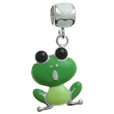 - Queenberry Rhodium-plated Sterling Silver Lovely Green Frog Enamel European Style Dangle Bead Charm Fits Pandora