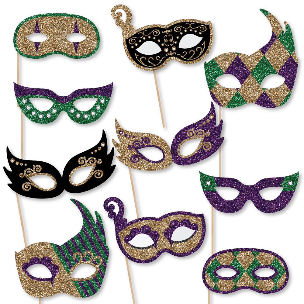 Mardi Gras Masks & Glasses - Paper Card Stock Masquerade Party Photo Booth Props Kit - 10 Count