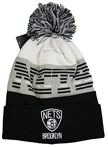 Mitchell and Ness Brooklyn Nets Men's Pom Knit Beanie Hat by Nba