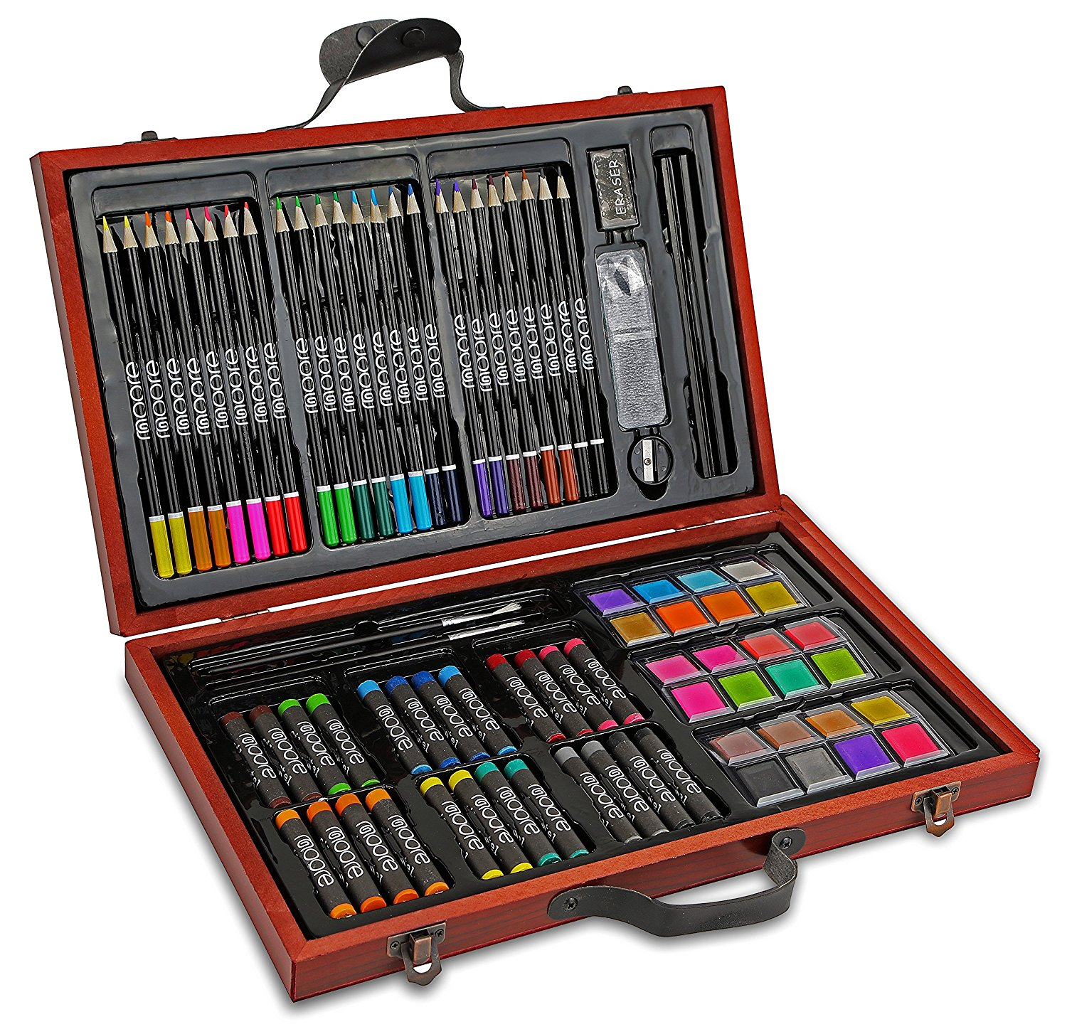 Moore 83 piece Deluxe Art Set, Portable Artist Studio in Wooden Case.