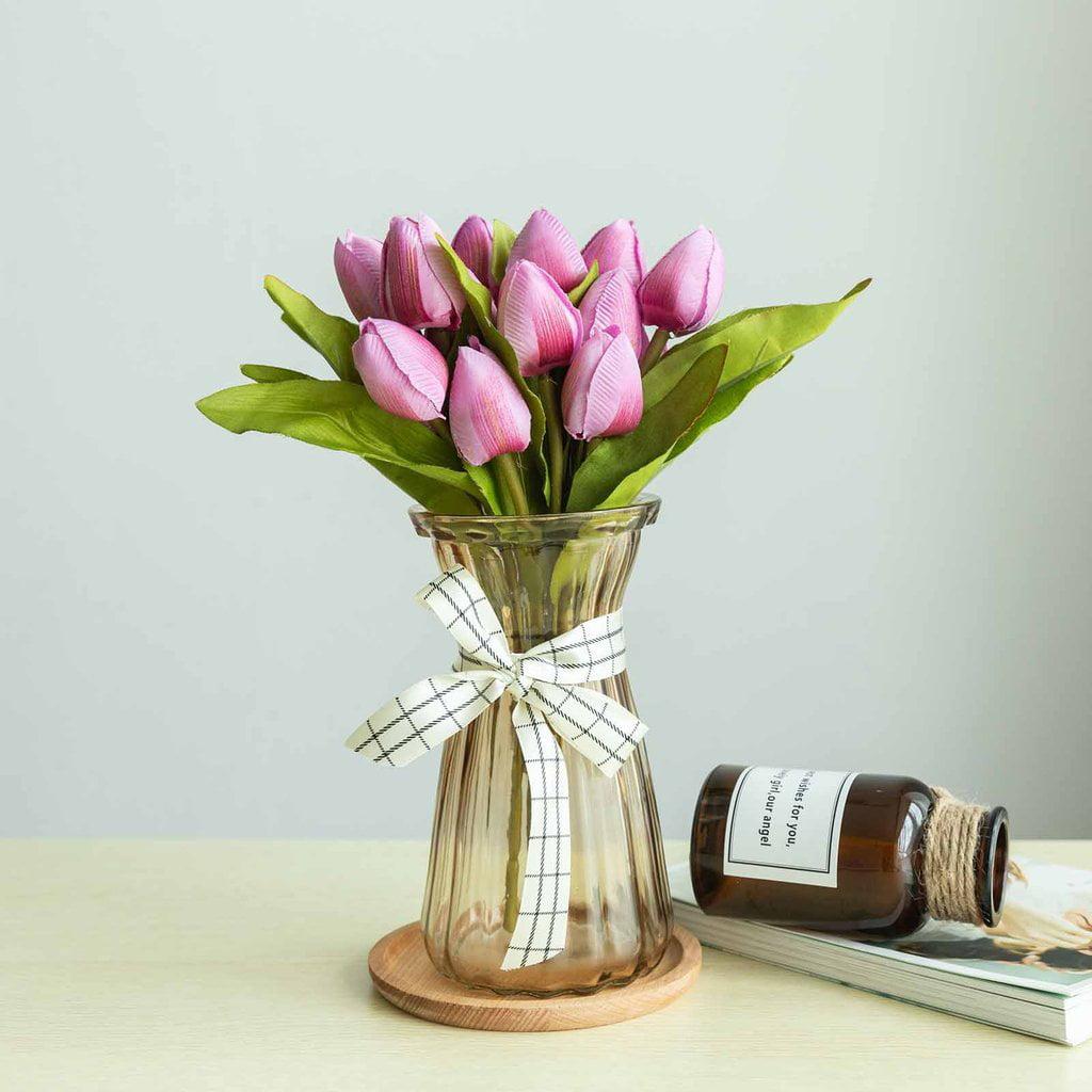 Efavormart 12 Pack | 108 Pcs Tulip Artificial Flowers Wedding Bouquet Floral Arrangements